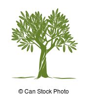 Clipart Vector of Green Olive tree vector. For labels concept of.