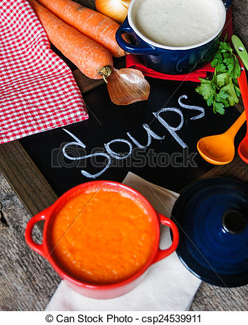 Stock Photography of Healthy dinner, vegetable soup.