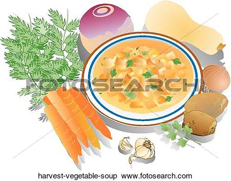 Stock Illustration of Harvest Vegetable Soup harvest.