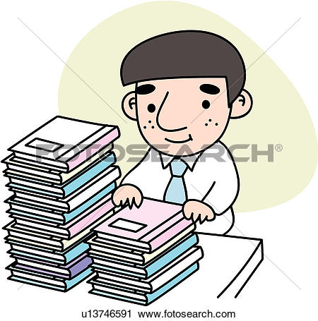 Clipart of heaped, stress, document, job, tired, businessman.