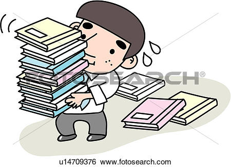 Clip Art of heaped, stress, document, job, tired, businessman.