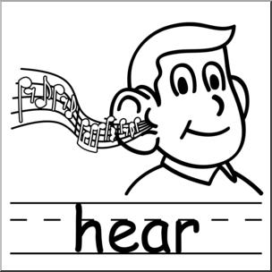 Clip Art: Basic Words: Hear B&W Labeled I abcteach.com.