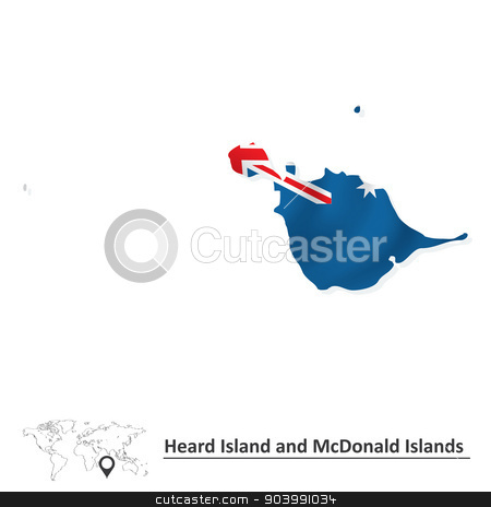 Map of Heard Island and McDonald Islands with flag stock vector.