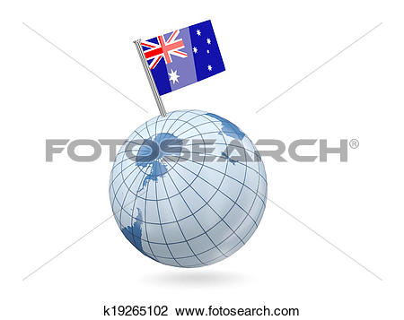 Stock Photo of Globe with flag of heard island and mcdonald.