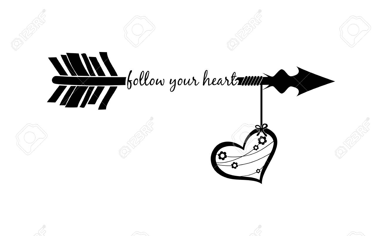 Follow your heart with arrow silhouette and decorated heart..