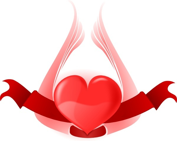 Heart With Wings clip art Free vector in Open office drawing svg.