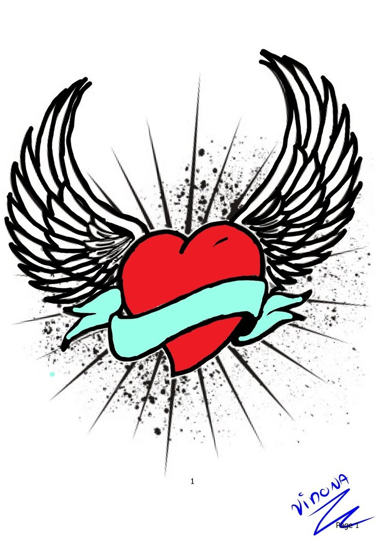 Hearts With Wings Coloring Pages.