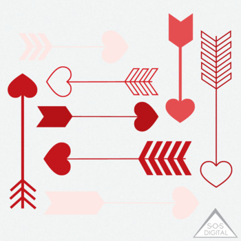 Red Heart Arrow Clipart, Clipart Heart Arrows, Valentine Arrows, PNG,  Digital.