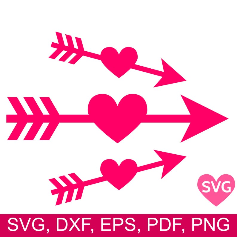 3 Heart Arrow SVG files, Arrow Through Heart SVG, Love Arrow SVG, Heart  Arrow Dxf, Printable Love Arrow Clipart, Arrows Svg Files for Cricut.
