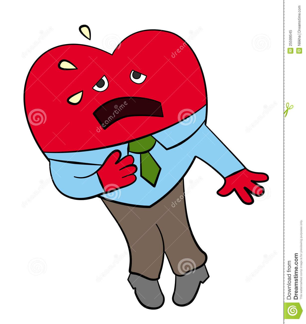 Man having heart attack clipart.