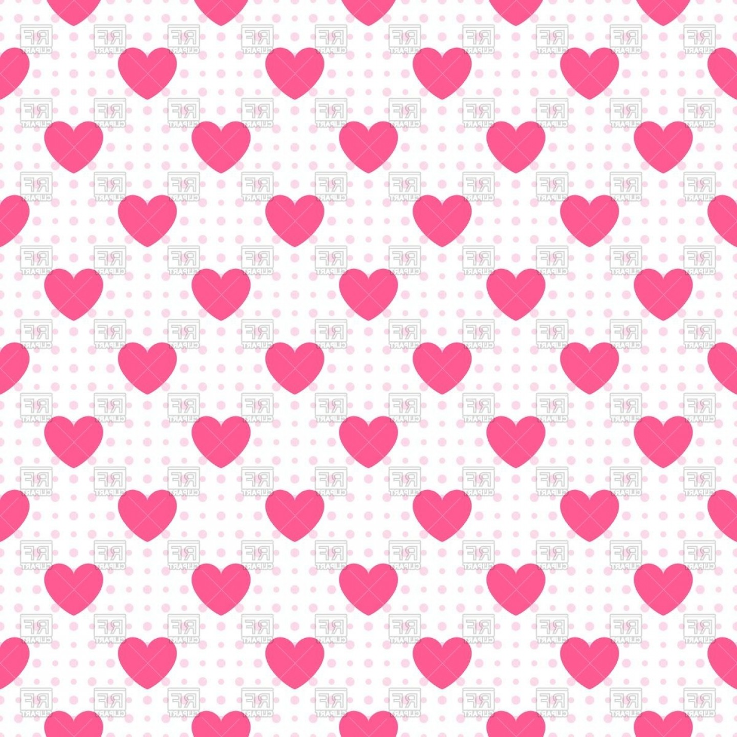 Seamless Pattern Of Hearts On Polka Dot Background Vector Clipart.