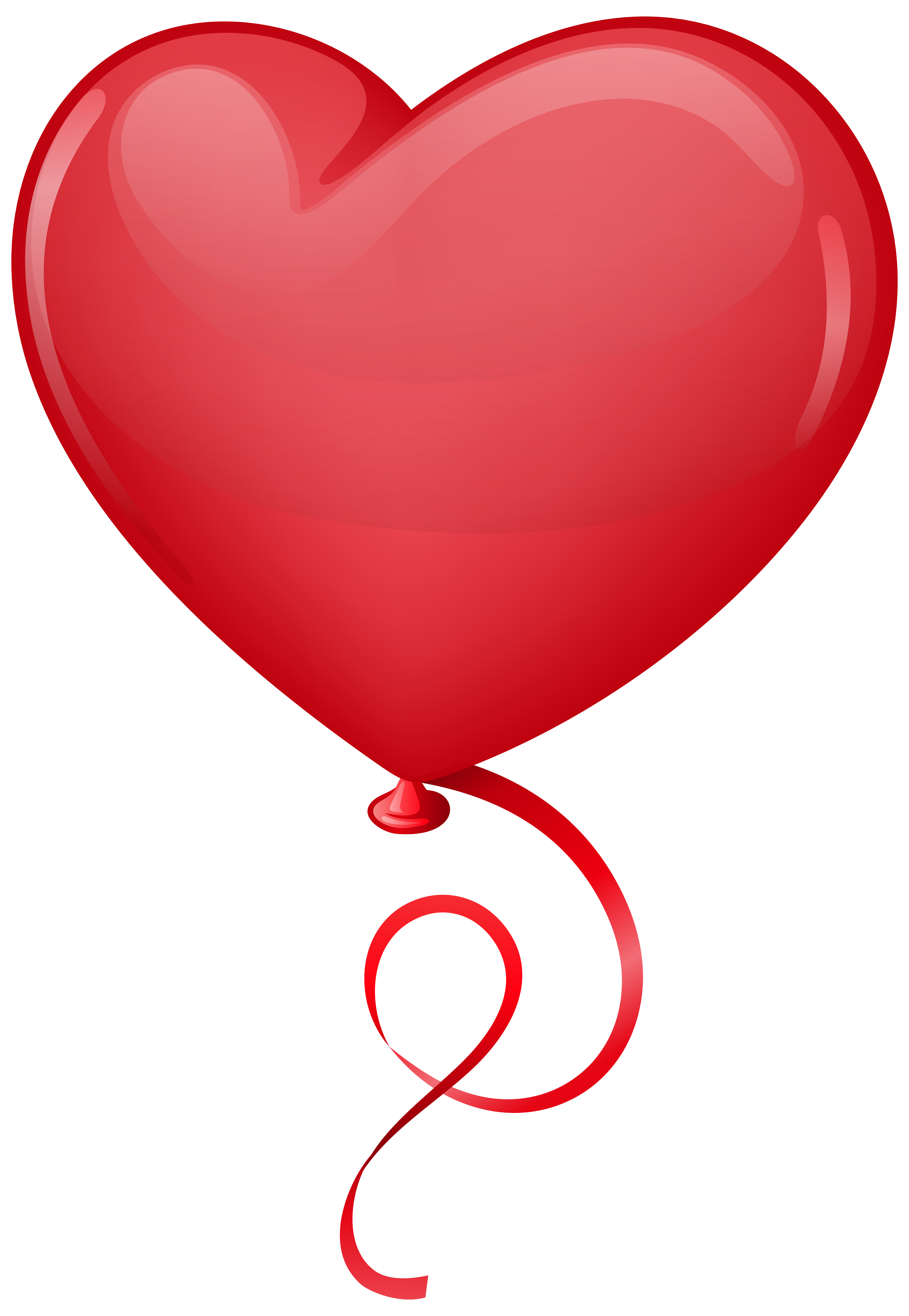 Red Heart Balloon Clip Art PNG Image.