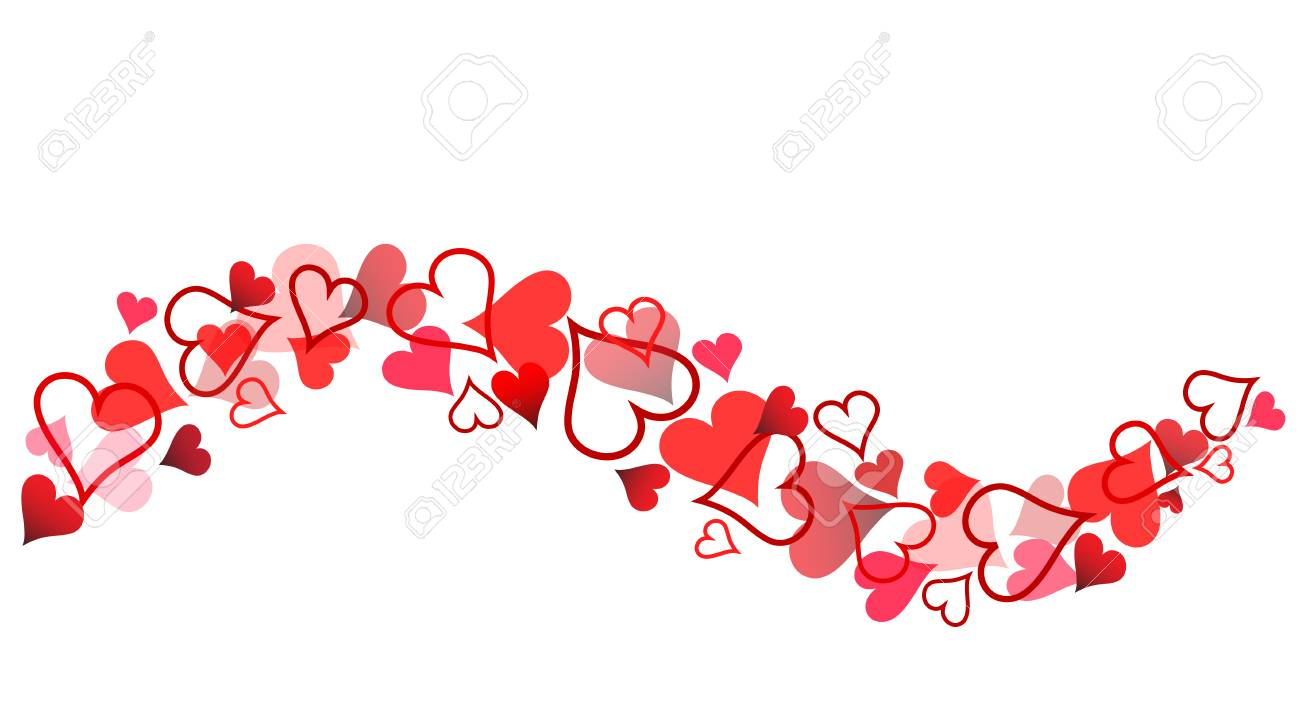 Red Hearts Banner for Valentine's Day on White, Stock Vector...