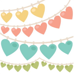 Heart swag banners SVG.