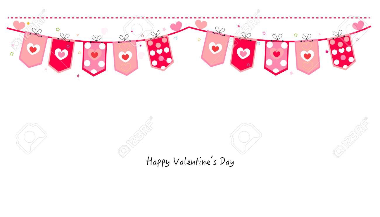 Valentine Day hearts banner vector background.