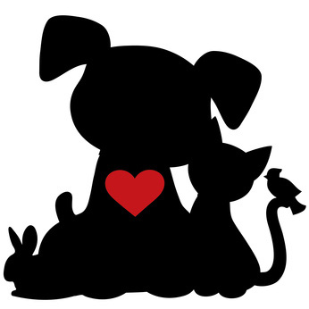 Clip Art of Pet Silhouettes Heart.