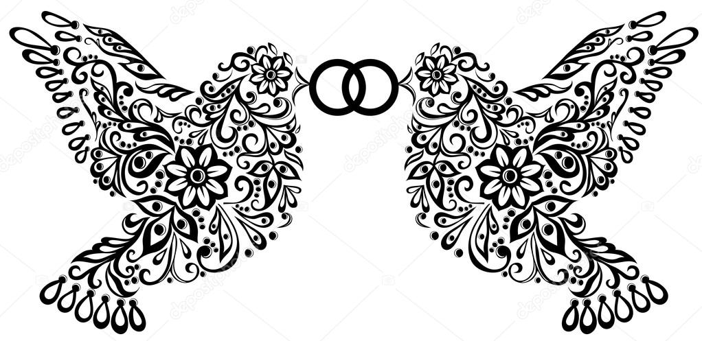 Wedding clipart, silhouette of two birds — Stock Vector.