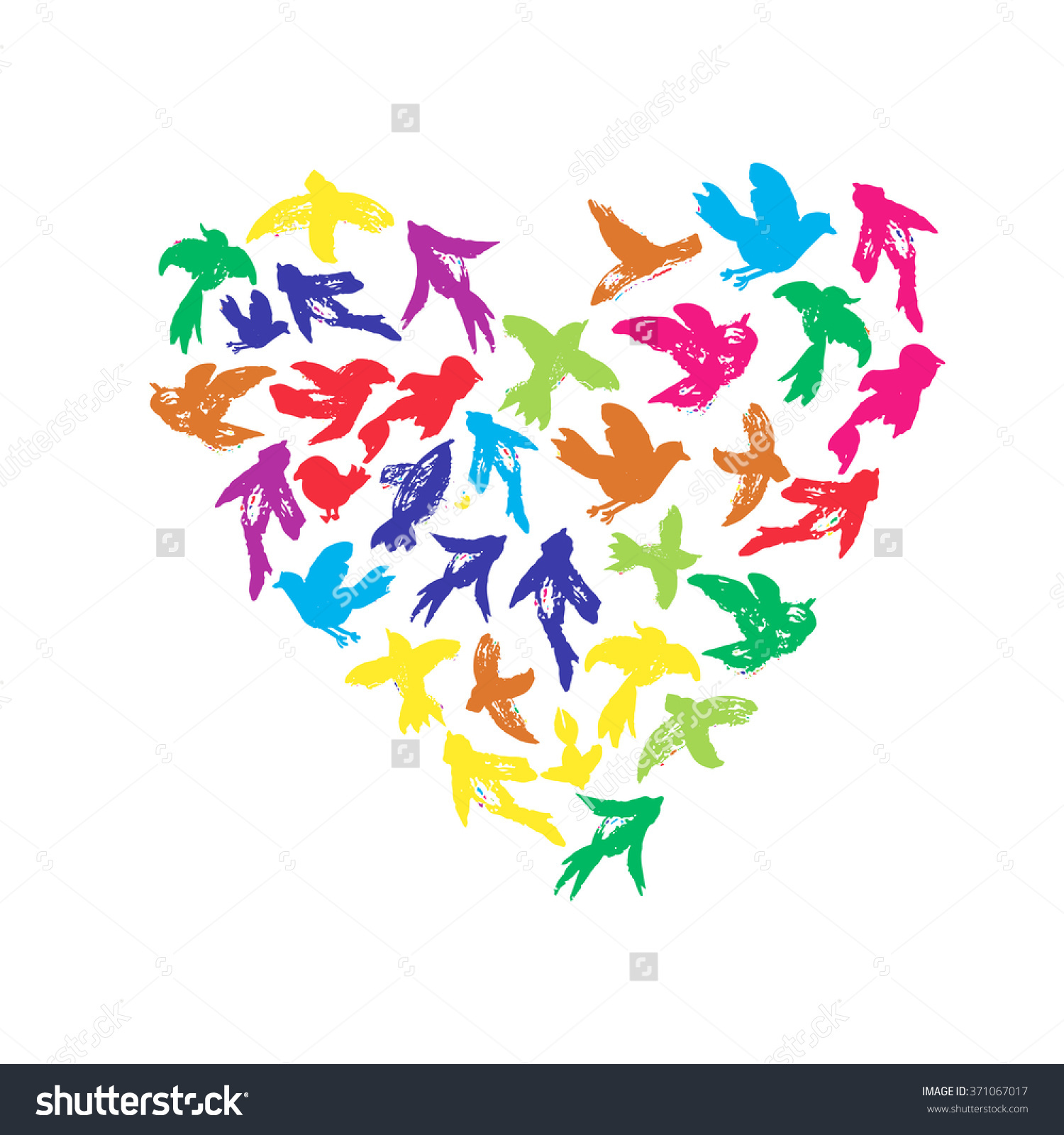 Vector Watercolor Heart Birds Silhouettes Flying Stock Vector.