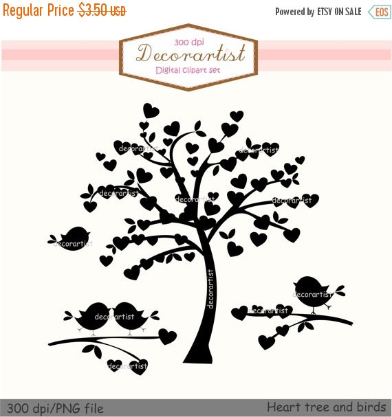 ON SALE Tree silhouette clip art, Heart tree and birds,silhouette.