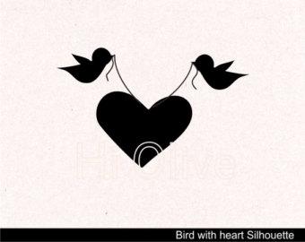 svg birds clip art, wedding Silhouette clip art, birds with love.