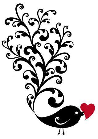 Bird Holding Heart Silhouette.