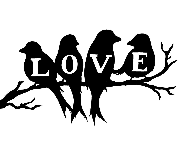 Love birds silhouette.