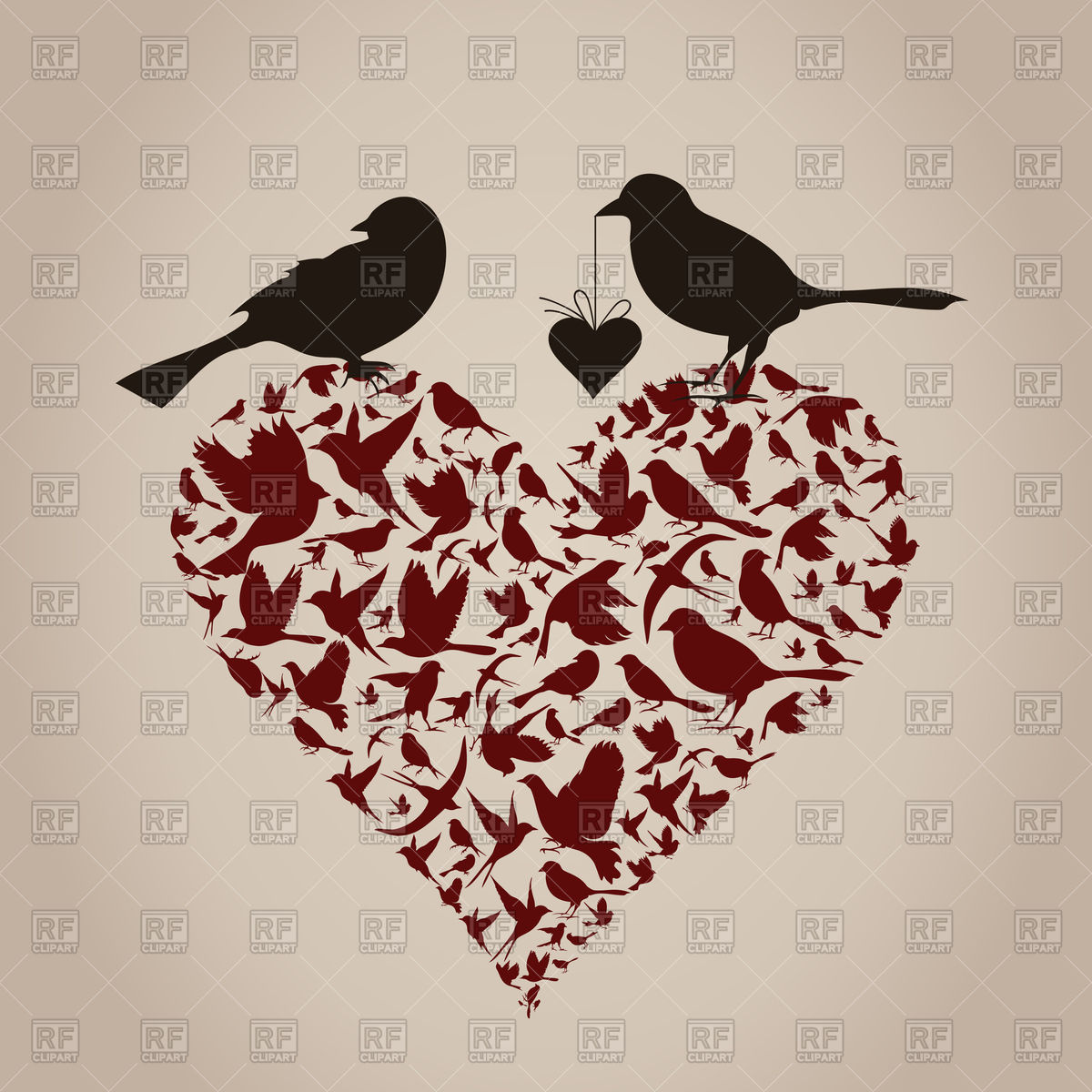 Heart made from silhouettes of birds Vector Image #78928.