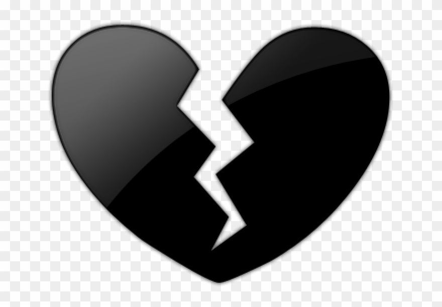 Black Heart Clipart Emoji Black Heart Broken Png Plant.
