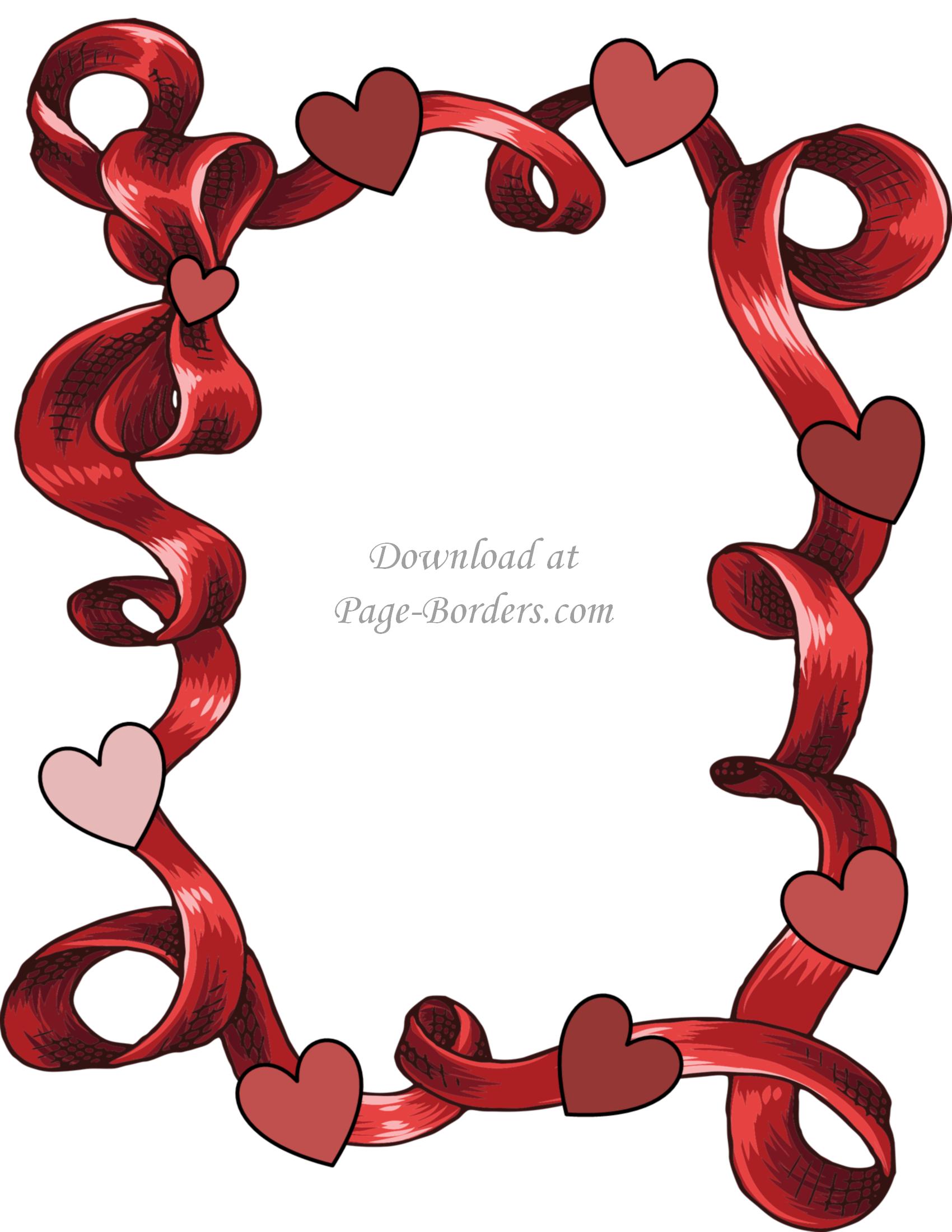 Free Printable Heart Border.