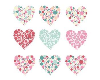Bubble Heart Clipart, Valentines Day, Hearts Clipart, Bubble Heart Set #004.