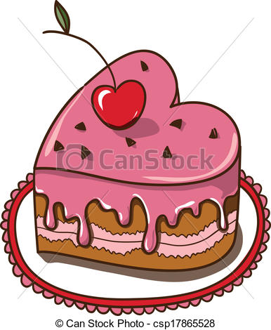 Vector Illustration of Sweet heart cake isolated on white. Sketch.