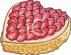 Strawberry Heart Cake Clipart Image.