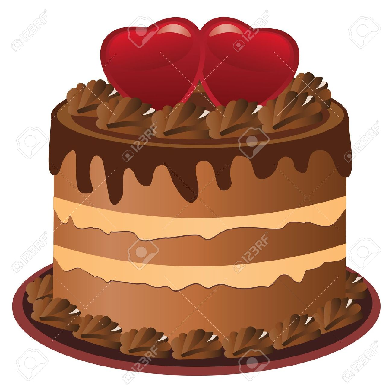 Vector Cake With Hearts Royalty Free Cliparts, Vectors, And Stock.