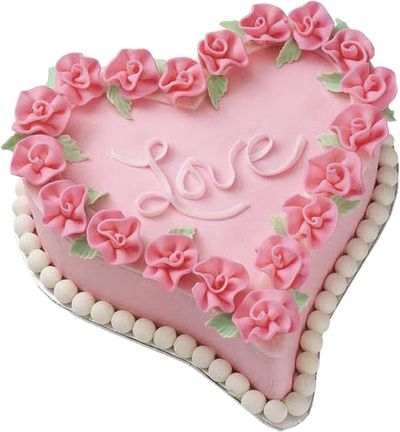 Pink Heart Cake PNG Picture.