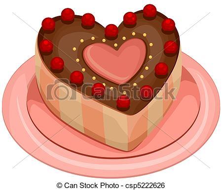 Clip Art of Valentine Cake.