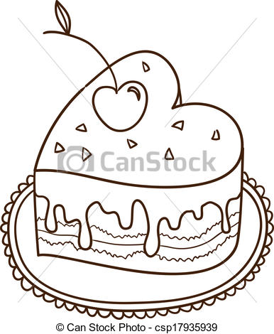 Vectors of Sweet heart cake isolated on white. Sketch illustration.