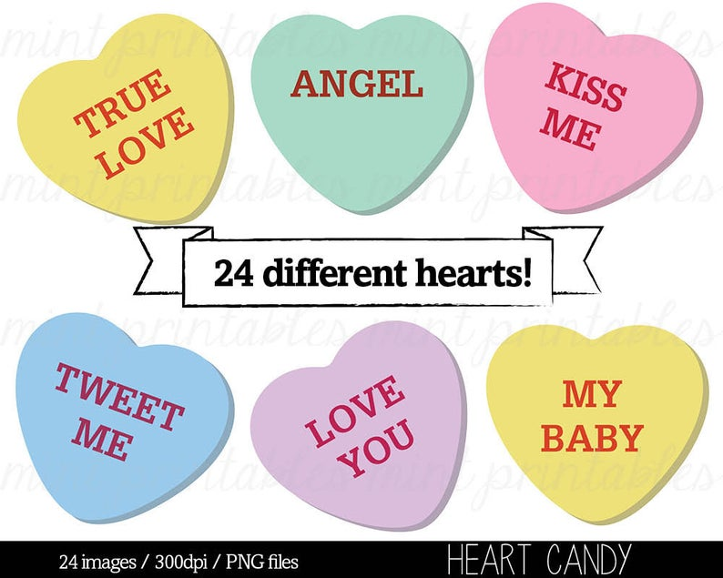 Heart Clipart, Heart Candy Clip Art, Sweethearts Candy Clipart,  Conversation Hearts Clipart.