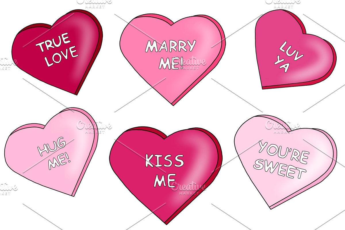 Heart Candy Clipart with Messages!.