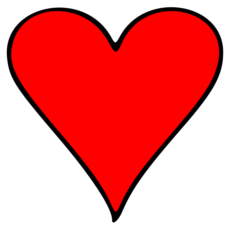 Free Clipart: Outlined Heart Playing Card Symbol.