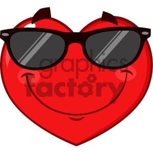 Smiling Red Heart Cartoon Emoji Face Character Wearing Sunglasses Vector  Illustration Isolated On White Background clipart. Royalty.