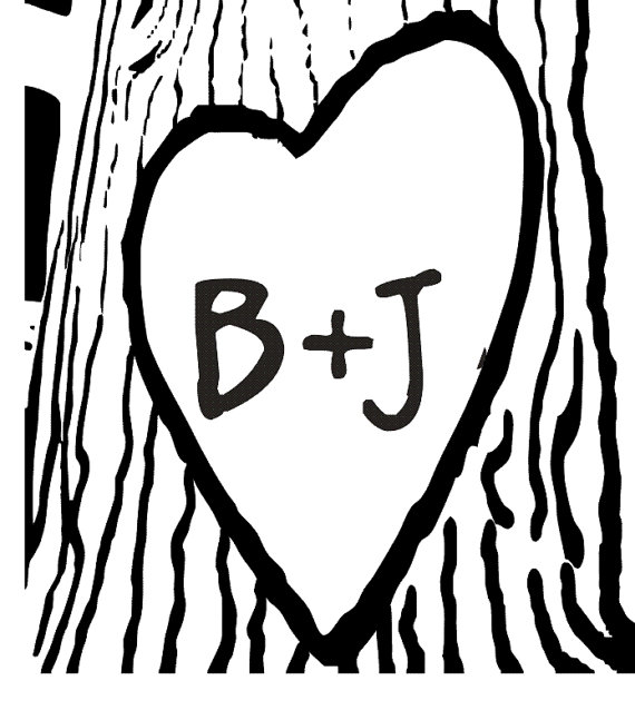 Heart Carved On A Tree With Initials Carve #177115.