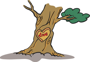 Clipart Illustration of a Tree With a Love Heart Carving.