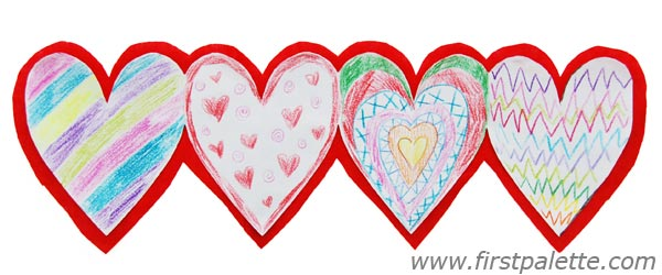 Paper Heart Chain Craft.
