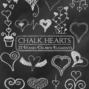 Digital Chalk Clipart: Chalk Clip Art, Chalk Heart Doodles, Chalkboard  Heart Clipart, Love Clipart, Valentine Chalk Graphics Vector Download.