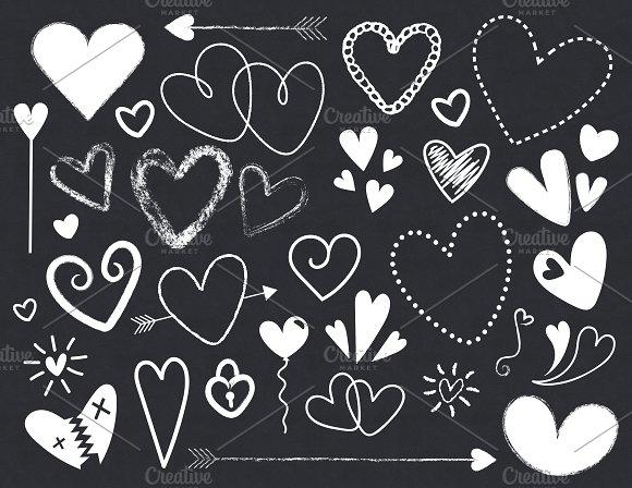 Chalkboard Hearts Clip Art Set.