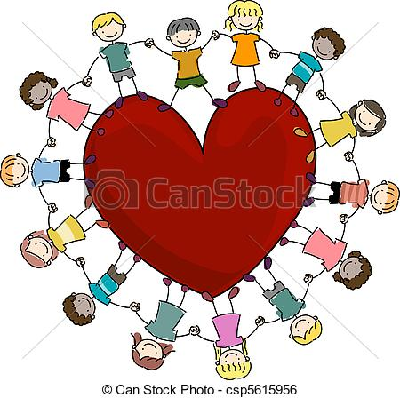 Kids Surrounding a Heart.