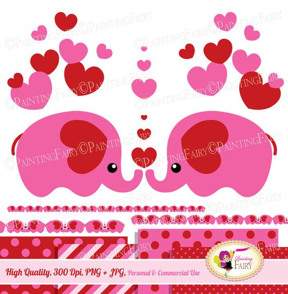 Valentine's Day Cute animals Clip Art Set sweet pink red hearts.