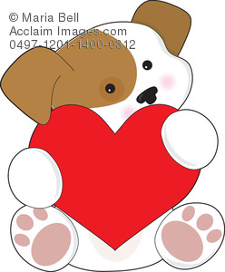 Cute Puppy Valentine Clipart Image.