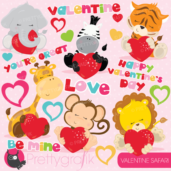 Valentine clipart set including cute baby safari animals. Show how.