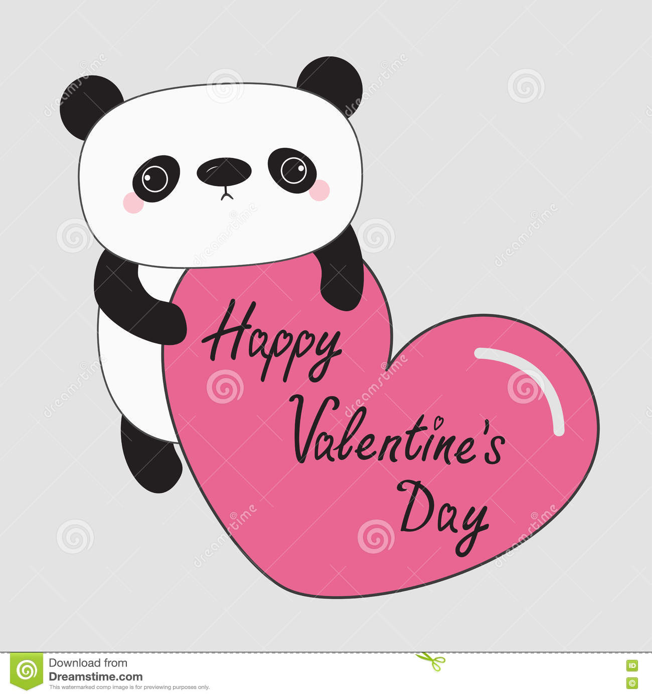 Kawaii Panda Baby Bear. Happy Valentines Day. Cute Cartoon.